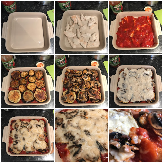 A collage of 9 photographs showing step by step images of layering the bake as in the instructions and a close up of the cooked bake
