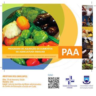 Campus Cuité da UFCG realiza Chamada Pública para aquisição de alimentos da agricultura familiar