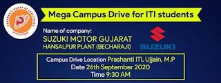 ITI Jobs Mega Campus Placement In Prashanti ITI, Uijain (M.P) Company Suzuki Motor Gujarat