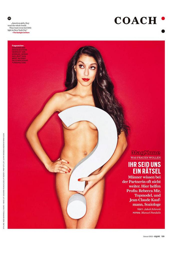Rebecca Mir poses topless for GQ Germany, January 2012