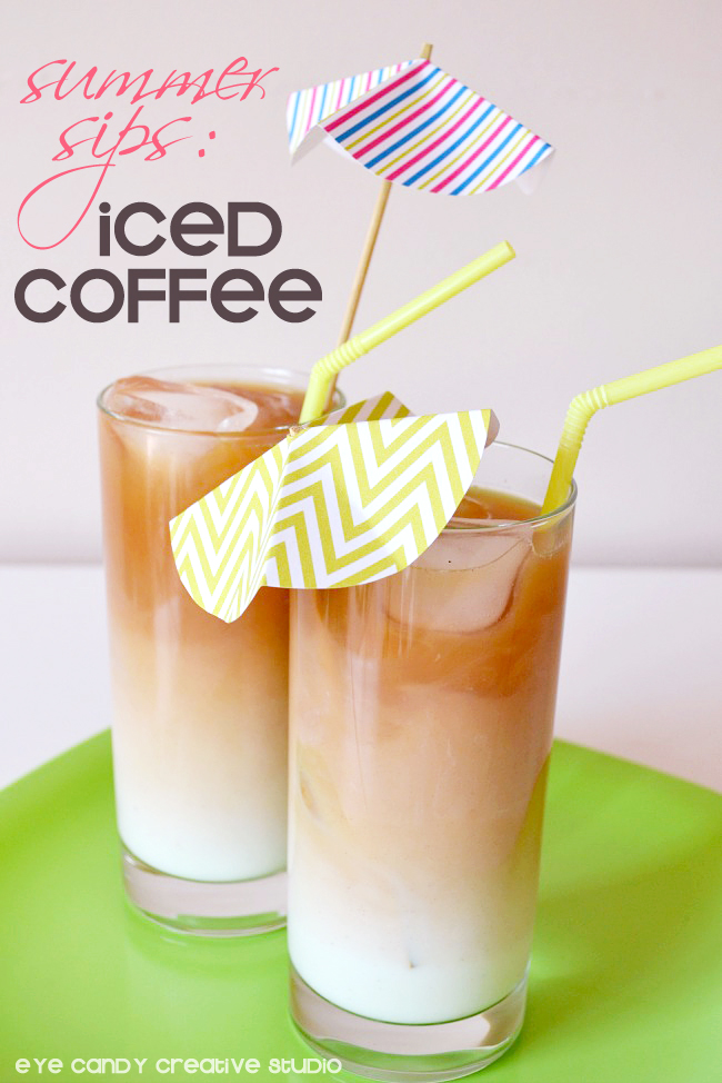 how to make iced coffee, iced coffee recipe, free drink umbrella