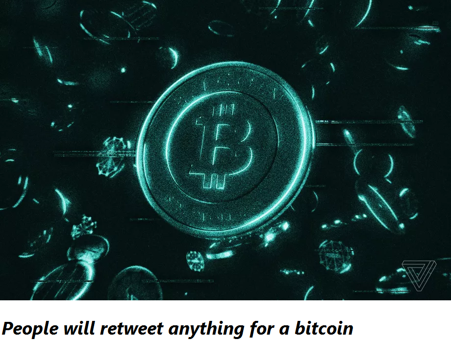 People will retweet anything for a bitcoin