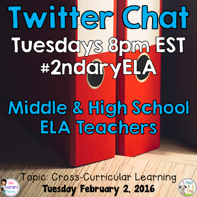 Join secondary English Language Arts teachers Tuesday evenings at 8 pm EST on Twitter. This week's chat will focus on cross-curricular teaching.