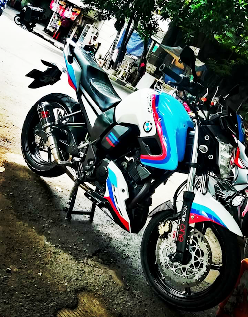 Modifikasi Yamaha Byson Simpel Minimalis Motif BMW