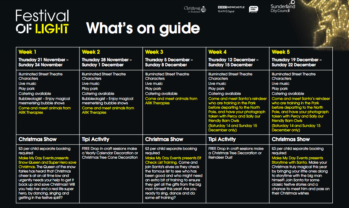 Sunderland Festival of Light  - what's on guide