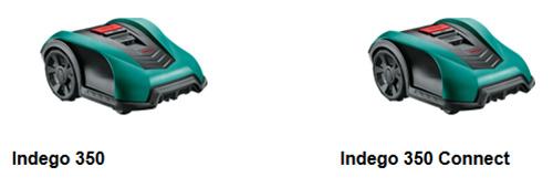 Robot tondeuse gazon Bosch Indego 350 et Indego Connect