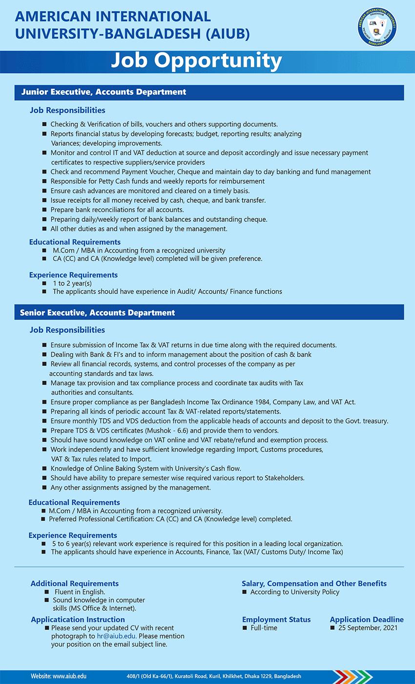 AIUB Job Circular image 2021