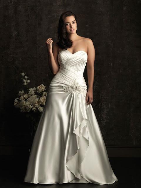 Vestido de novia para gordita con escote corazón