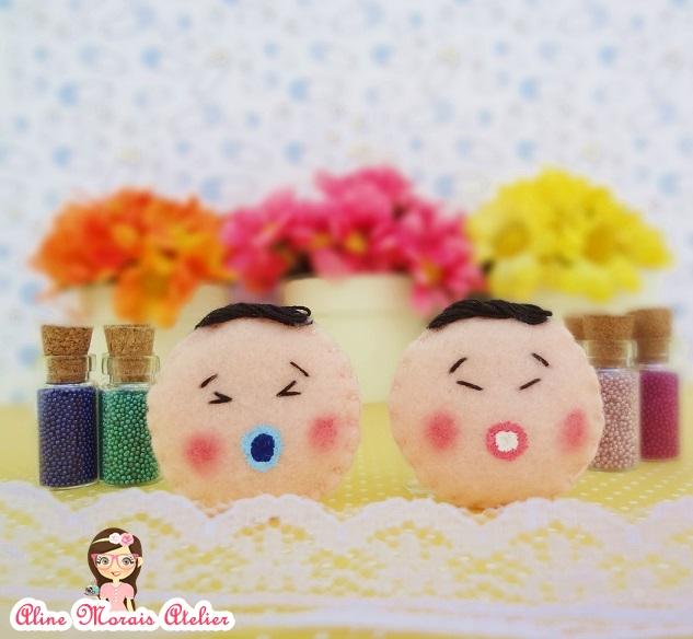 lembrancinha de maternidade nascimento de feltro bebe chines oriental coreano japones com chupeta