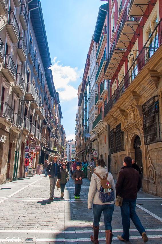 Calle Estafeta en Pamplona. 7 de Julio es San Fermin