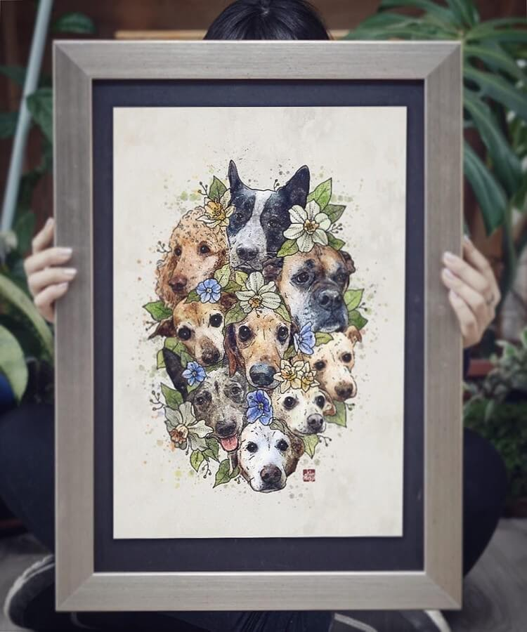 13-Dog-Group-elvenwings-Animal-Portraits-www-designstack-co