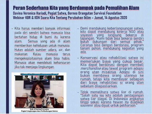 Peran Sederhana Kita yang Berdampak pada Pemulihan Alam - Davina Veronica Hariadi, Pegiat Satwa, Borneo Orangutan Survival Foundation - Webinar KBR & IIDN Suara Kita Tentang Perubahan Iklim – Jumat, 14 Agustus 2020 | © JelajahSuwanto