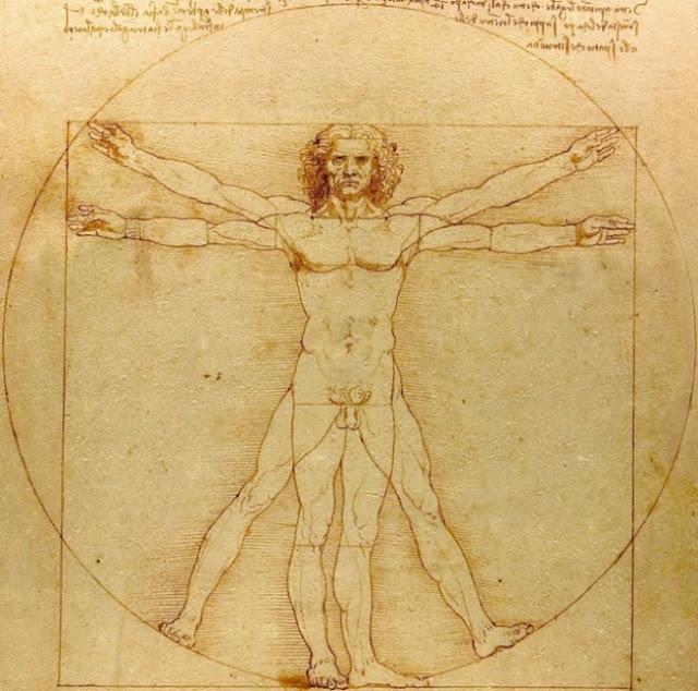 nombres, hasard : Vitruve dit, dans son ouvrage sur l'architecture : la Nature a distribué les mesures du corps humain comme ceci: Quatre doigts font une paume, et quatre paumes font un pied, six paumes font un coude : quatre coudes font la hauteur d'un homme. Et quatre coudes font un double pas, et vingt-quatre paumes font un homme ; et il a utilisé ces mesures dans ses constructions. Si vous ouvrez les jambes de façon à abaisser votre hauteur d'un quatorzième, et si vous étendez vos bras de façon que le bout de vos doigts soit au niveau du sommet de votre tête, vous devez savoir que le centre de vos membres étendus sera au nombril, et que l'espace entre vos jambes sera un triangle équilatéral. La longueur des bras étendus d'un homme est égale à sa hauteur.