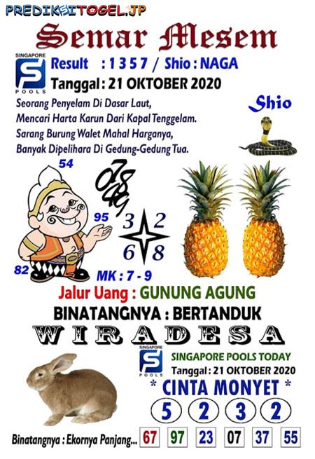 Syair Semar Mesem SGP Rabu 21 Oktober 2020