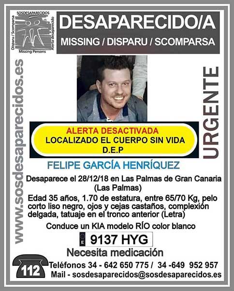Encuentran sin vida cuerpo de hombre desaparecido Las Palmas de Gran Canaria