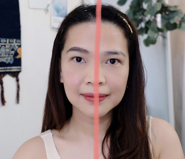 Half face before and after photo of Benefit POWmade Brow Pomade Review By Nikki Tiu of askmewhats.com