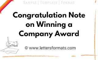 congratulating someone for winning an award