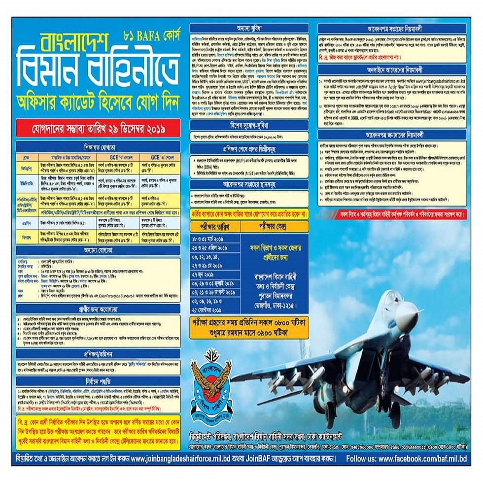 বাংলাদেশ বিমান বাহিনী নিয়োগ বিজ্ঞপ্তি ২০১৯