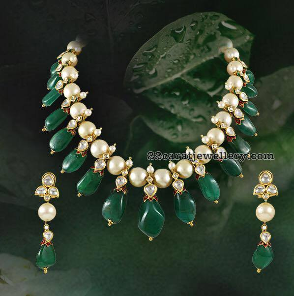 Pearls Set with Colombian Emerald Drops