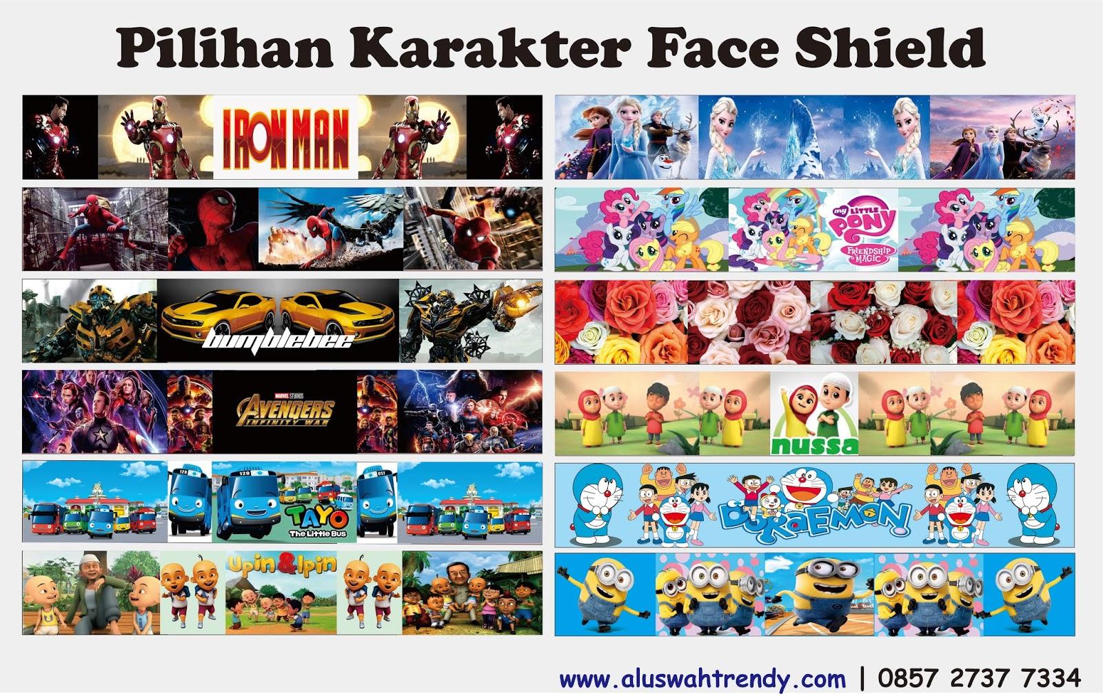 Face Shield Anak Karakter Buka Tutup
