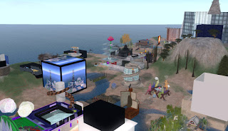 Bird's eye view of Ethnographia Island in Second Life