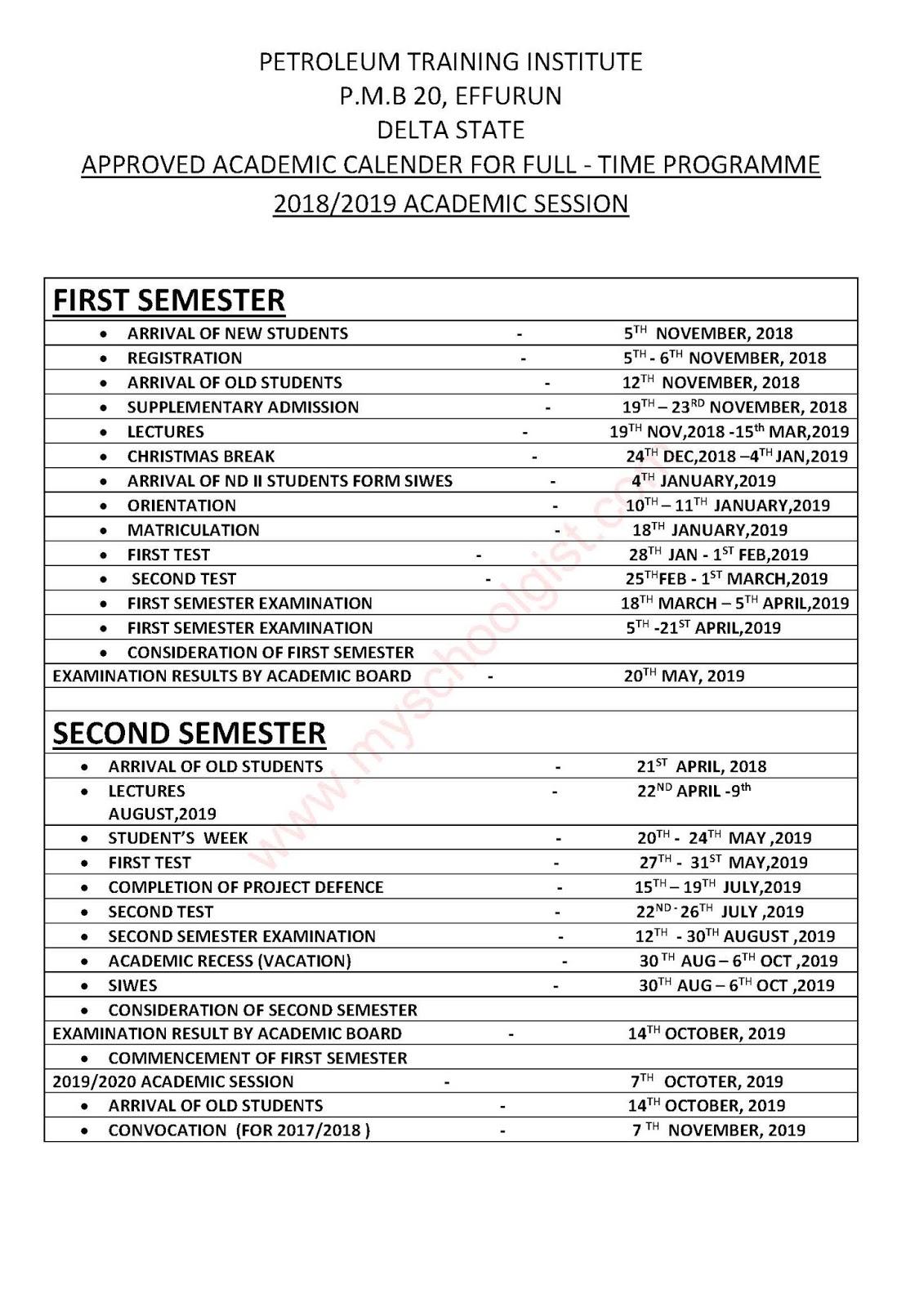 Petroleum Training Institute Academic Calendar 2018 2019 Is Out Current School News