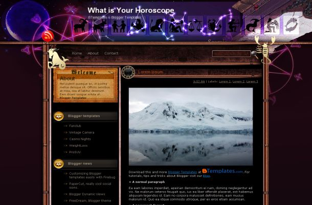 Black Horoscope Jquery Free Blogger Layout Theme Template