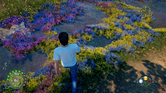 The grass shader handles the bending of foliage away from Ryo's feet.