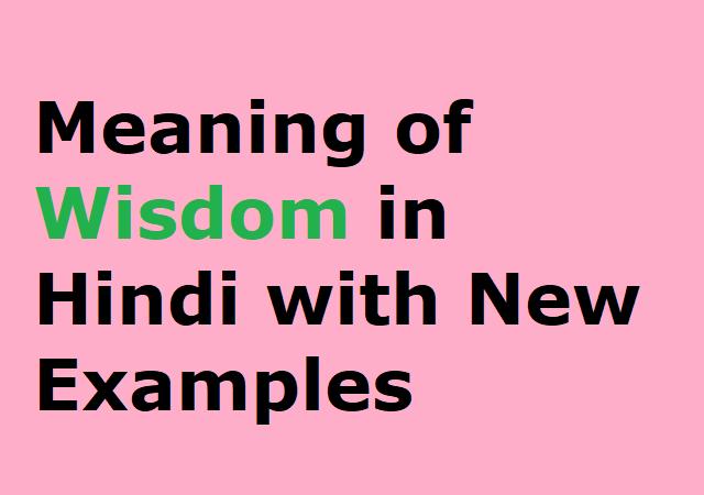 Meaning of Wisdom in Hindi with New Examples - विजडम का हिंदी मतलव