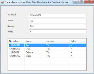 """Cara Menampilkan Data Dari Database Ke Textbox Vb Net Dari ListView - Halo teman – teman pada artikel kali ini kita membahas cara menampilkan data dari database ke Textbox Vb Net dari ListView.  Menampilkan data dari database ke Textbox Vb Net dari Dari ListView dapat dilakukan untuk beberapa kebutuhan, salah satunya untuk langkah awal jika ingin mengedit data yang telah tersimpan ke dalam database.    Berikut langkah-langkah untuk menampilkan data dari database ke Textbox Vb Net dari ListView :   1. Buatlah tampilan desain program seperti gambar di bawah ini     2. Klik kanan pada tampilan form dan klik View Code   3. Masukkan coding koneksi database vb net di bawah ini untuk menghubungan database yang dibuat sebelumnya dengan program vb net yang sedang dibuat    Imports MySql.Data.MySqlClient  Public Class Form1      Public DB As New  MySql.Data.MySqlClient .MySqlConnection      Public DR As MySqlDataReader      Public MSD As MySqlCommand      Public SQL As String      Public DS As DataSet      Public MDA As MySqlDataAdapter       Sub ShowDB()          SQL = """"Server=Localhost;uid=root;database=database_siswa""""          Try              DB.ConnectionString = SQL              DB.Open()          Catch ex As Exception              MsgBox(ex.Message)          End Try  End Sub    4. Untuk memanggil database ke form load, Double click form load kemudian masukkan koding di bawah ini    Private Sub  Form1_Load  (ByVal sender  As  System. Object, ByVal e As System. EventArgs)  Handles  MyBase. Load        ShowDB()  End Sub  End Class    5. Double Click ListView1    6. Kemudian rubah ListView SelectedIndexChanged menjadi ListView1_DoubleClick seperti gambar di bawah ini    7. Untuk menampilkan data dari database ke Textbox Vb Net dari ListView Masukkan koding di bawah ini pada ListView1_DoubleClick     TXBNoInduk.Text  = ListView1. SelectedItems(0). Text()          SQL = """"Select * from Tabel_Siswa Where NoInduk='"""" & TXBNoInduk.Text & """"'""""          MSD = New MySqlCommand(SQL, D"""