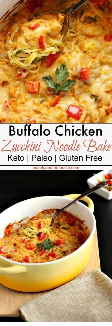 Creamy Buffalo Chicken Zucchini Noodle Bake