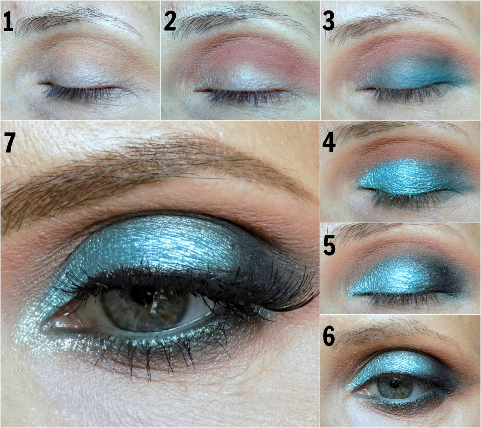 turquoise eye look tutorial using Makeup Geek eyeshadows