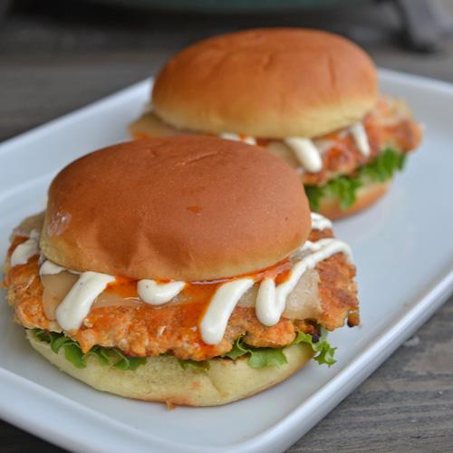 Delicious, crispy and spicy Buffalo Chicken Smash Burgers