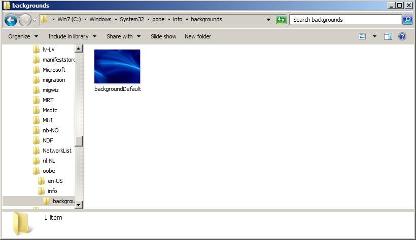 Đặt tên hình nền chọn làm logon screen là backgroundDefault định dạng .jpg