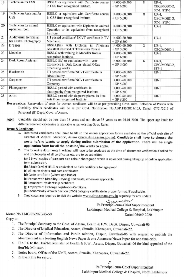 Lakhimpur Medical College Recruitment 2020,north lakhimpur medical college job  north lakhimpur medical college chowkham assam  www assam lakhimpur dist govt vacancy com  hs pass job in north lakhimpur  lakhimpur lilabari airport job vacancy  quikr jobs lakhimpur kheri  new medical college in assam 2020  lakhimpur company,Lakhimpur Medical College Recruitment 2020 - Online Apply 79 Clerk, LDC, Steno, Accountant, Librarian, Computer Operator
