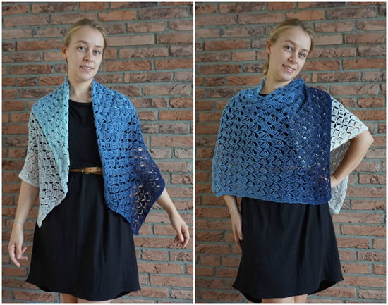 Breezeblocks shawl, crochet pattern Scheepjes Whirl (photo and design New Leaf Design) | Happy in Red