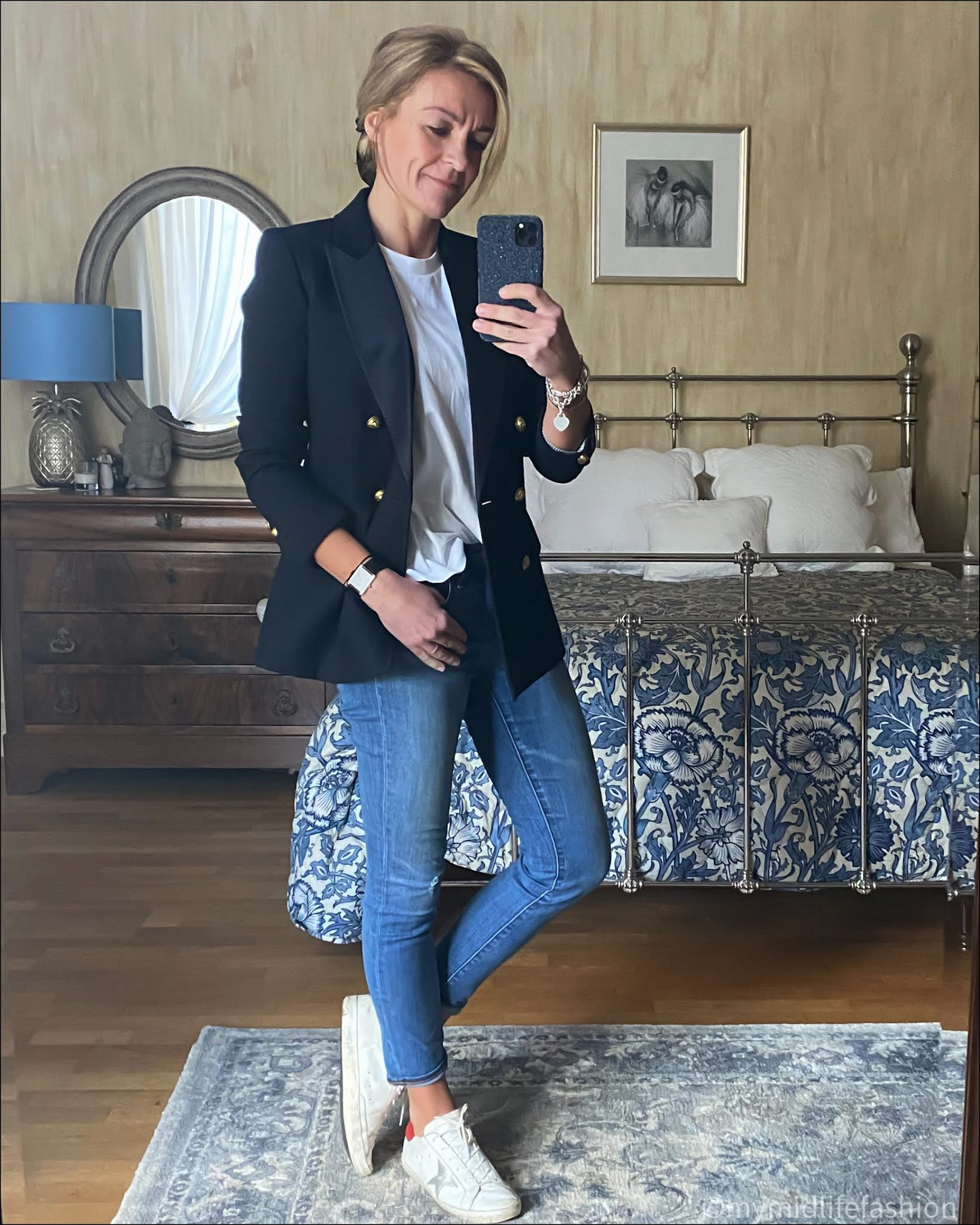 my midlife fashion, j crew double breasted tuxedo, zara oversized t-shirt,  j  crew 8 inch toothpick jeans, golden goose superstar low top leather trainers