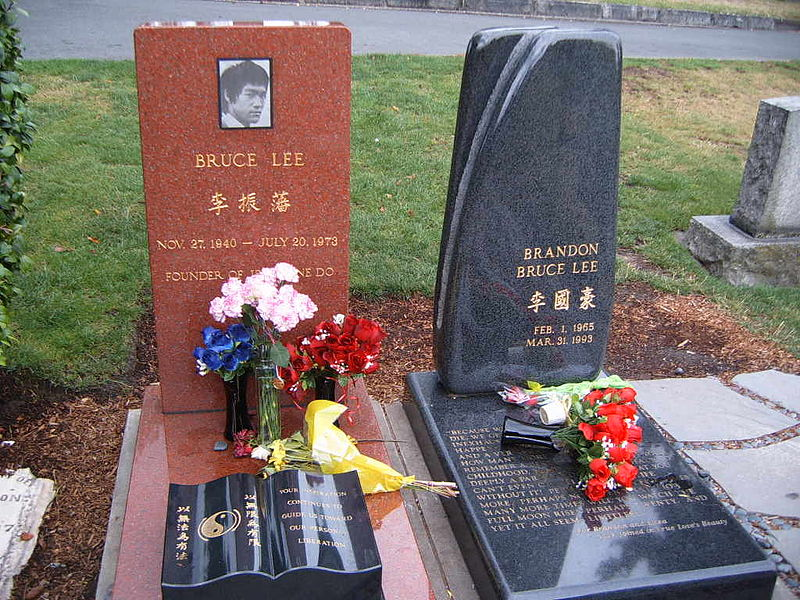 The graves of Bruce and Brandon Lee