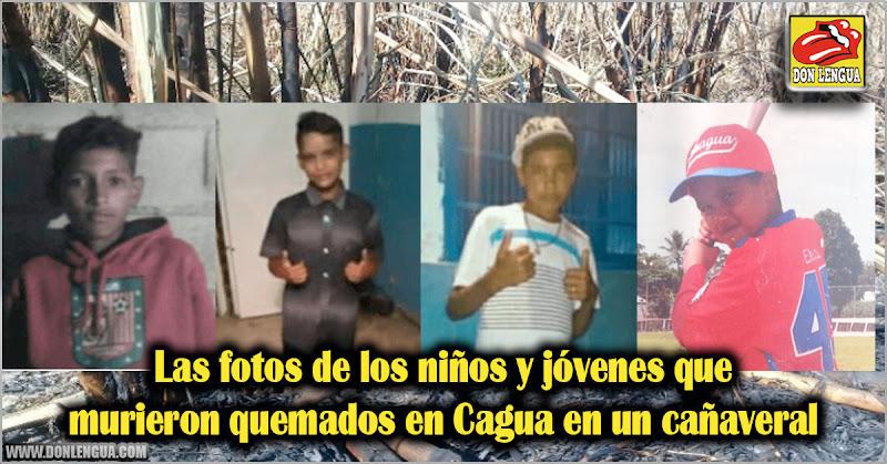 Las fotos de los niños y jóvenes que murieron quemados en Cagua en un cañaveral
