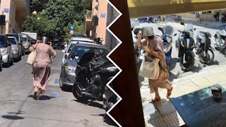 H κυρία που ανεβαίνει την Βουκουρεστίου με χύτρα στο κεφάλι είναι το viral του σημερινού σεισμού