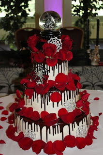 Red and White Halloween Wedding Cakes