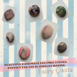 A collage with seven colorful cabochons on top of a blue and white striped background.  Text says: Beautiful handmade polymer stones.  Perfect for use in jewelry making.  Fairy Oasis.