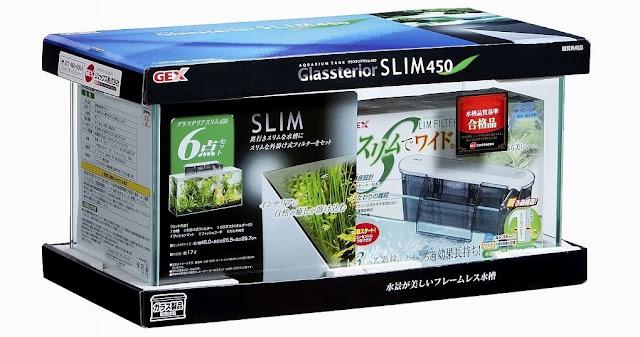 Harga Aquarium Merk GEX Glasterior Slim 450 - Budidaya Ikan