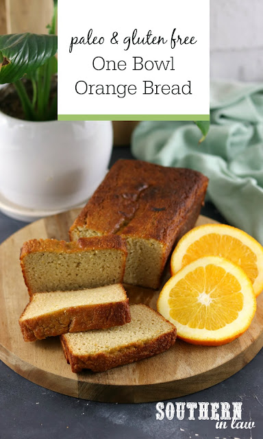 One Bowl Paleo Orange Bread Recipe - healthy, low carb, gluten free, grain free