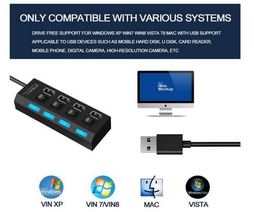 Wyness 4 Port USB 2.0 Date hub high Speed