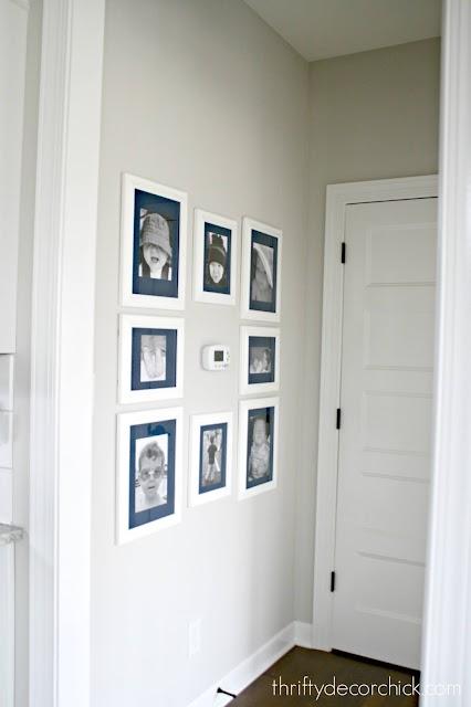 small hallway art around thermostat