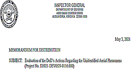Evaluations of DoD's Actions Re UAP (Heading)  - Inspector General 5-3-2021
