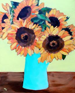 original sunflower painting acrylic on canvas framed by Merrill Weber