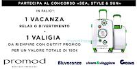 Logo Gioca e vinci gratis una vacanza + valigia + buono Promod da 150 euro