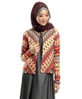 Model blazer batik remaja lengan panjang